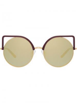 Солнцезащитные очки в оправе кошачий глаз Matthew Williamson. Цвет: золотистый