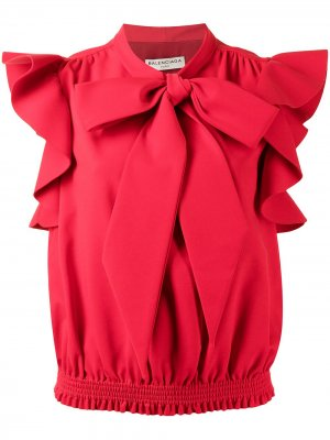Блузка без рукавов с бантом Balenciaga Pre-Owned. Цвет: красный