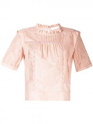 Поплиновая рубашка с вышивкой See by Chloé. Цвет: розовый