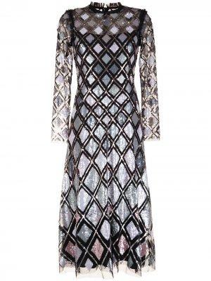 Вечернее платье с пайетками Needle & Thread. Цвет: золотистый