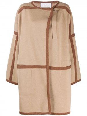 Пальто-кардиган с контрастной отделкой Chloé. Цвет: коричневый