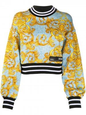 Толстовка с принтом в Baroque Versace Jeans Couture. Цвет: синий