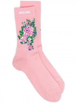 Носки вязки интарсия с цветочным узором MSGM. Цвет: розовый