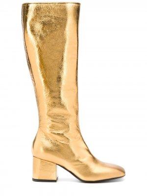 Сапоги с квадратным носком Marni. Цвет: золотистый