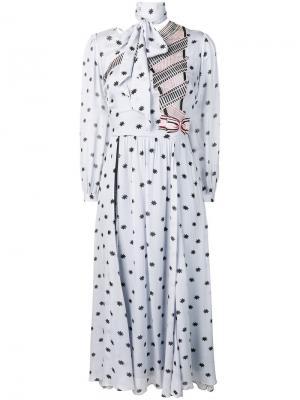 Платье Storm с деталью в виде шарфа Temperley London. Цвет: синий