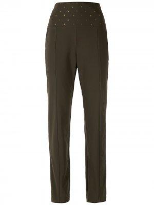 Прямые брюки с вышивкой Alcaçuz. Цвет: зеленый
