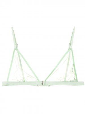Прозрачный бюстгальтер с треугольными чашками Fleur Du Mal. Цвет: зеленый