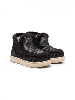 Ботинки с декоративной строчкой Mou Kids. Цвет: черный