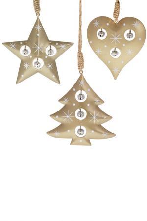 Набор из 3-х подвесок DUE ESSE CHRISTMAS. Цвет: золотой
