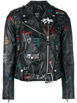 Байкерская куртка с узором в стиле граффити Htc Los Angeles. Цвет: чёрный