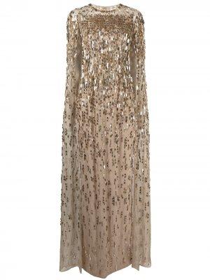 Платье с кейпом и пайетками Jenny Packham. Цвет: золотистый