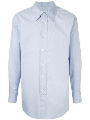 Рубашка в полоску с логотипом Wooyoungmi. Цвет: синий