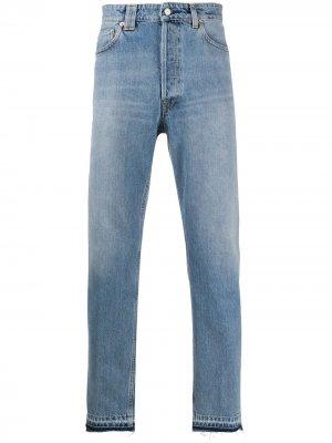 Зауженные джинсы с эффектом потертости Golden Goose. Цвет: синий