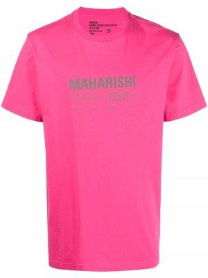 Футболка из органического хлопка с логотипом Maharishi. Цвет: розовый