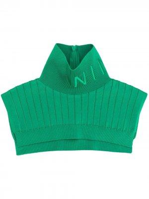 Высокий воротник в рубчик Nina Ricci. Цвет: зеленый