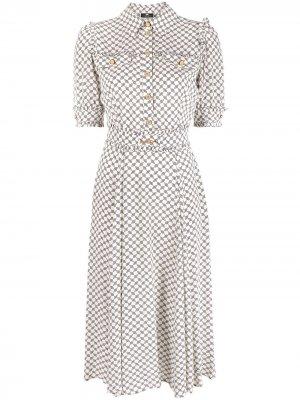 Платье-рубашка с короткими рукавами и принтом Elisabetta Franchi. Цвет: нейтральные цвета