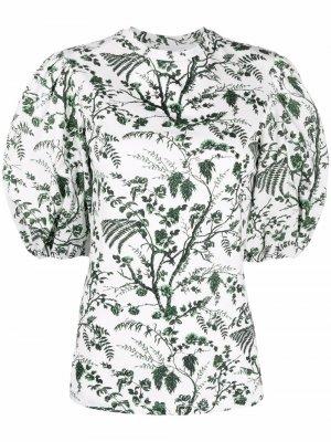 Рубашка с пышными рукавами и принтом Erdem. Цвет: белый