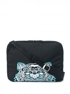 Сумка для ноутбука с вышивкой Tiger Kenzo. Цвет: черный