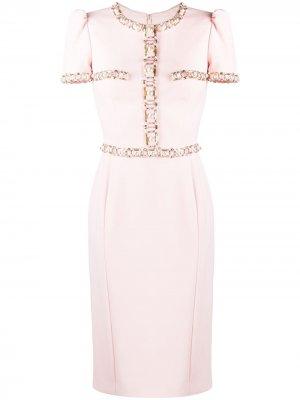 Платье строгого кроя с бусинами Jenny Packham. Цвет: розовый