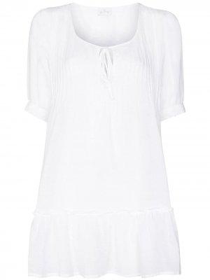 Ночная сорочка со складками Pour Les Femmes. Цвет: белый