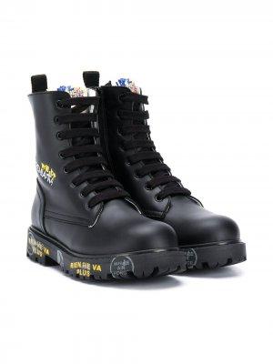 Ботинки карго на шнуровке Premiata Kids. Цвет: черный
