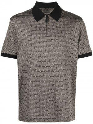 Рубашка поло с узором Brioni. Цвет: черный