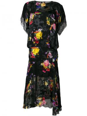 Платье миди Leonora с цветочным принтом Preen By Thornton Bregazzi. Цвет: черный