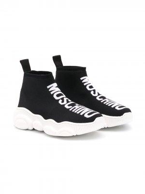 Высокие кроссовки-носки с жаккардовым логотипом Moschino Kids. Цвет: черный
