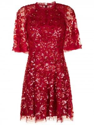 Декорированное платье-трапеция Needle & Thread. Цвет: красный