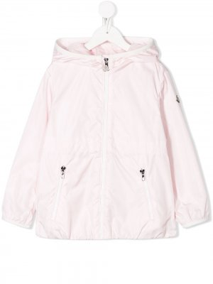 Плащ на молнии с капюшоном Moncler Enfant. Цвет: розовый