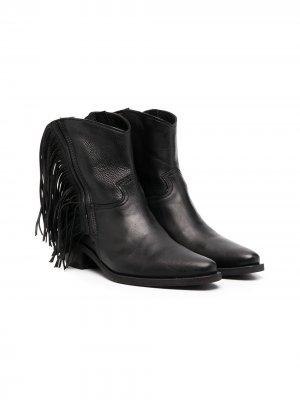 Ковбойские ботинки с бахромой Cinzia Araia Kids. Цвет: черный