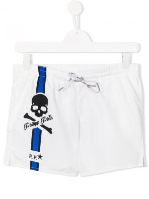 Пляжные шорты White Sand Philipp Plein Junior. Цвет: белый