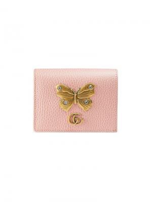 Футляр для карт с бабочкой Gucci. Цвет: розовый