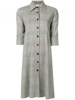 Платье-рубашка в клетку принц Уэльский Ultràchic. Цвет: серый