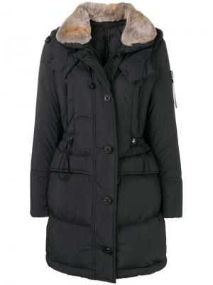 Куртка-пуховик с меховым воротником Peuterey. Цвет: синий