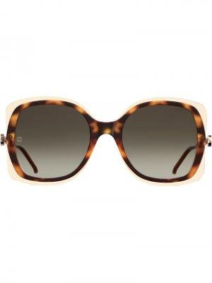 Солнцезащитные очки с затемненными линзами Elie Saab. Цвет: коричневый
