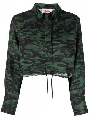 Укороченная рубашка с камуфляжным принтом Solid & Striped. Цвет: зеленый