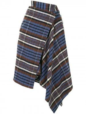 Клетчатая юбка асимметричного кроя Ground Zero. Цвет: синий