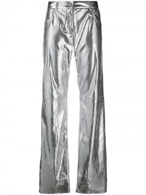 Расклешенные брюки с эффектом металлик MSGM. Цвет: серый