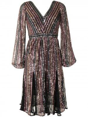 Платье с длинными рукавами и пайетками Marchesa Notte. Цвет: черный