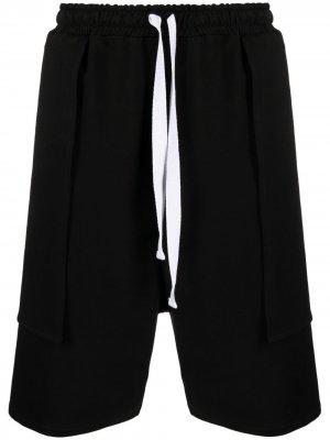 Многослойные шорты с кулиской Alchemy. Цвет: черный
