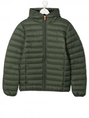 Padded zip coat Save The Duck Kids. Цвет: зеленый