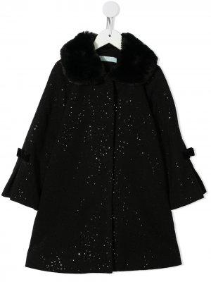 Пальто с пайетками и искусственным мехом Abel & Lula. Цвет: черный