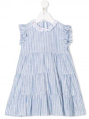 Ярусное платье в полоску Il Gufo. Цвет: синий