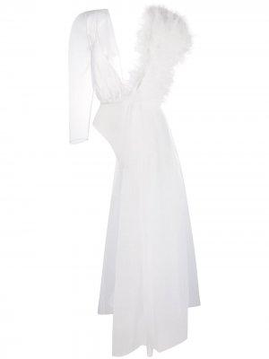 Блузка с V-образным вырезом и оборками Alchemy. Цвет: белый