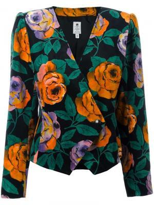 Пиджак с цветочным принтом Emanuel Ungaro Pre-Owned. Цвет: черный