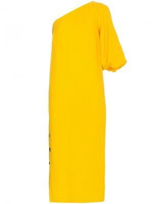 Платье на одно плечо Emile Mara Hoffman. Цвет: желтый