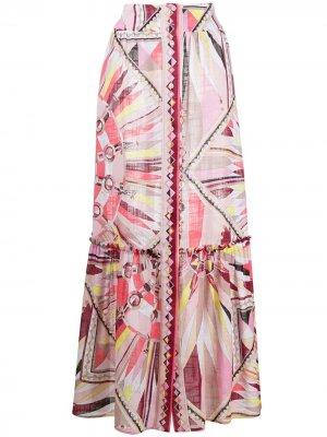 Юбка макси с принтом Emilio Pucci. Цвет: розовый