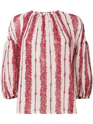 Блузка в полоску свободного кроя Giambattista Valli. Цвет: розовый