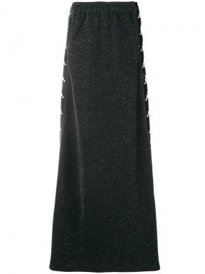 Юбка макси с полосками и логотипом Faith Connexion. Цвет: черный